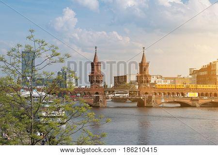 Berlin skyline Oberbaum Bridge and river Spree panorama