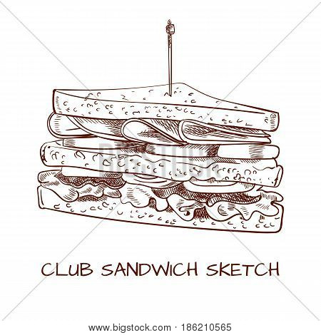 Club sandwich outline drawing. VECTOR sketch isolated on white. Black lines