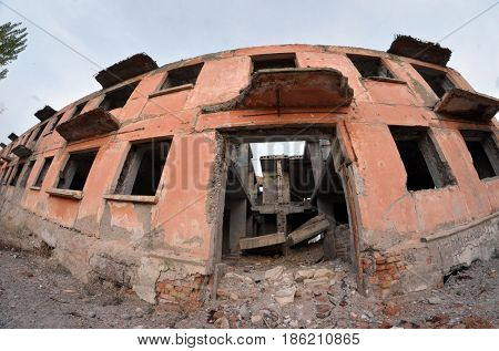 Abandoned residential building of 50-th.Sary Shagan.Former Soviet  anti-ballistic missile testing range.Kazakhstan.May 8, 2017.Sary Shagan.Kazakhstan