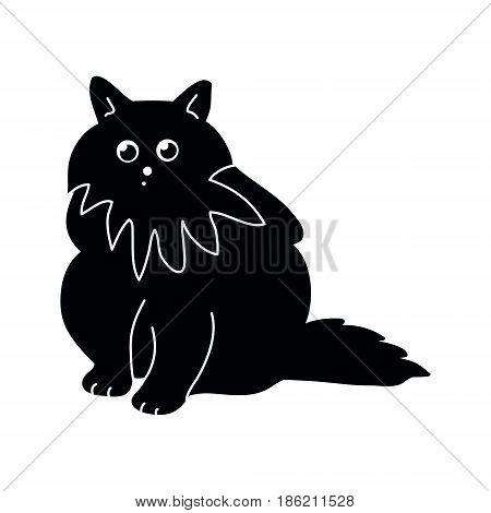 Black silhouette of a fluffy cat on a white background vector illustration