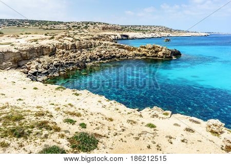 Blue Lagoon with rocky coast in Ayia Napa