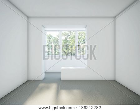 Empty room with white walls and gray cement floor. Renovation Concept. White Stucco Concrete Wall and Gray Floor Copy Space Background. 3d rendering