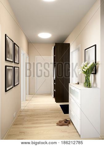 Bright and cozy hall interior design in modern urban contemporary style with beige walls white doors and large mirror wardrobe. 3d render