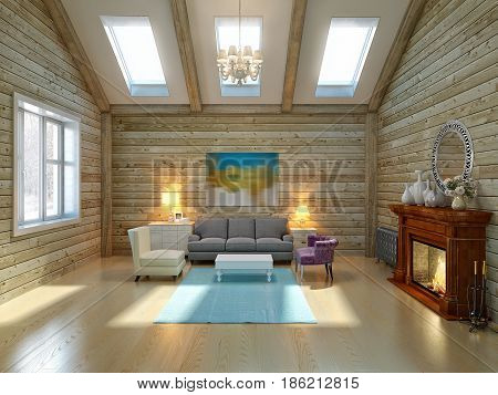 Modern Suburban Country Contemporary Classic Living room Interior Design in Big Wooden House With High Ceiling Windows and Classic Fireplace. 3d render