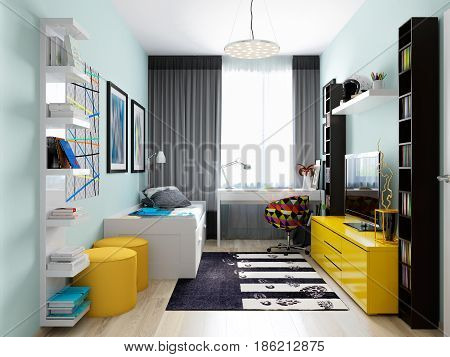 Modern Urban Contemporary Children Room Interior Design for Boy Teenager. 3d rendering