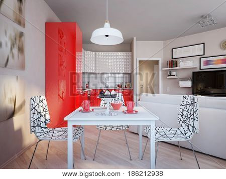 Modern Urban Contemporary Scandinavian Studio open living room dining room and kitchen Interior Design with beige walls white furniture and white and red glossy kitchen. 3d render