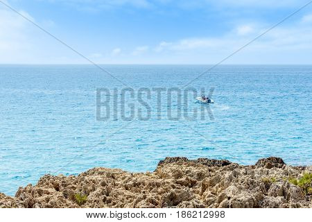 A floating boat from the island of Cyprus
