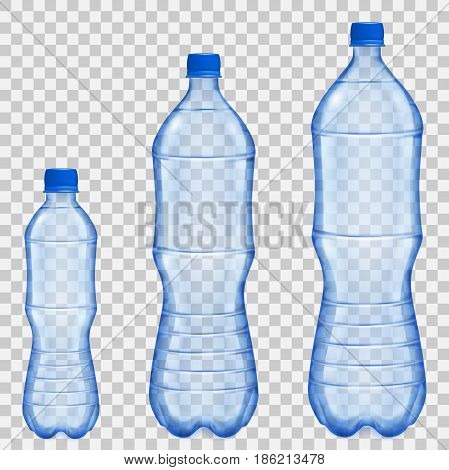 Set of three transparent plastic bottles of various sizes and volumes with mineral water in blue colors. Transparency only in vector file