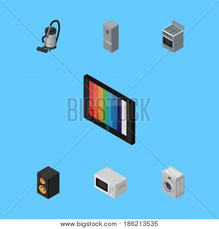 Isometric Device Set Of Kitchen Fridge, Vac, Microwave And Other Vector Objects. Also Includes Vac, Machine, Microwave Elements.