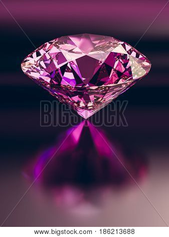 Pink diamond on dark background. 3d illustration.