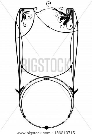 vector floral frame with stylized flowers in black and white