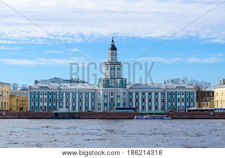 Building of Kunstkamera (Museum of Anthropology and Ethnography named after Peter the Great of Russian Academy of Sciences construction 1718-1734 years) on Universitetskaya embankment St. Petersburg Russia