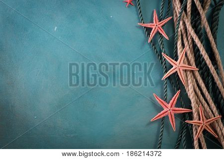 Summer Time Sea Vacation Background With Star Fish, Marine Rope On Dark Blue Background