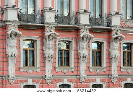 Atlantes of Palace Beloselsky-Belozersky (Sergievsky Palace 1847-1848) St. Petersburg Russia