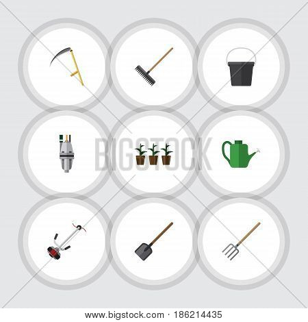Flat Farm Set Of Shovel, Cutter, Pail And Other Vector Objects. Also Includes Harrow, Shovel, Tool Elements.