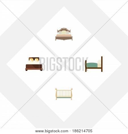 Flat  Set Of Cot, Mattress, Bed And Other Vector Objects. Also Includes Cot, Bed, Double Elements.