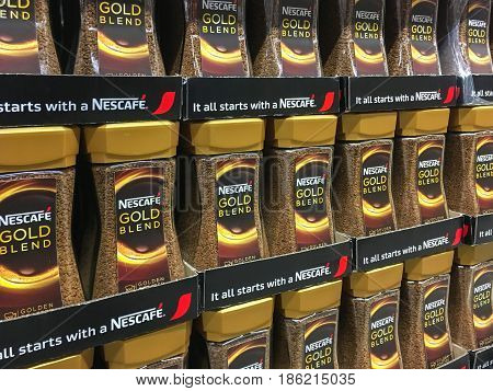 Gorlice Poland - May 13 2017: Nescafe Gold Blend Coffee offered for sale in Kaufland Supermarket. Nescafe is a brand of coffee made by Nestle S.A. a Swiss transnational food and drink company.