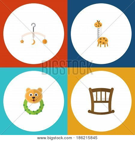 Flat Kid Set Of Rattle, Mobile, Infant Cot And Other Vector Objects. Also Includes Giraffe, Crib, Infant Elements.