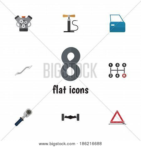 Flat Service Set Of Coupler, Wheel Pump, Suspension And Other Vector Objects. Also Includes Joint, Automobile, Car Elements.