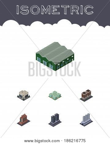 Isometric Architecture Set Of Industry, Clinic, Water Storage And Other Vector Objects. Also Includes Hospital, Home, Clinic Elements.