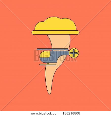 flat icon on stylish background tornado helicopter