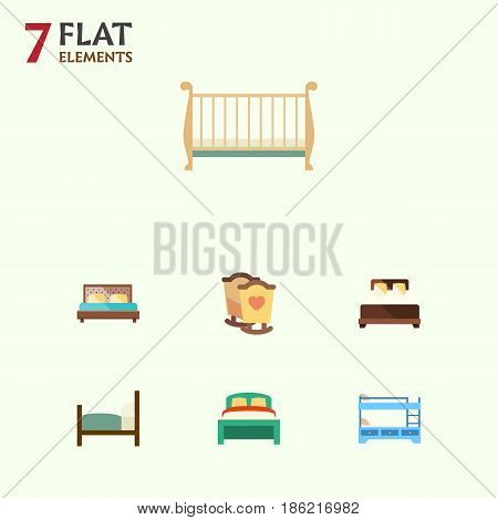 Flat  Set Of Hostel, Furniture, Bed And Other Vector Objects. Also Includes Child, Bedroom, Mattress Elements.