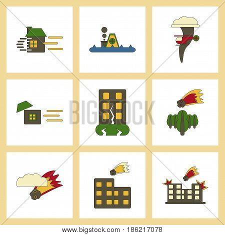 assembly of flat icons danger natural disasters