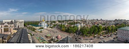 Ukraine, Kiev  Aerial view of Kiev city. St. Michael's Cathedral