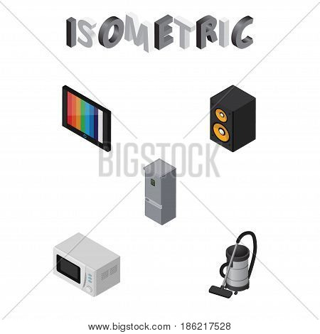 Isometric Device Set Of Television, Vac, Kitchen Fridge And Other Vector Objects. Also Includes Vac, Microwave, Refrigerator Elements.