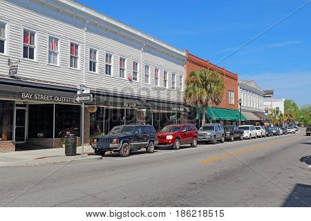 BEAUFORT SOUTH CAROLINA - APRIL 16 2017: Businesses on Bay Street near the waterfront in the historic district of downtown Beaufort the second-oldest city in South Carolina.