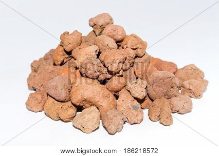 Expanded Clay, Haydite Isolated On White Background.