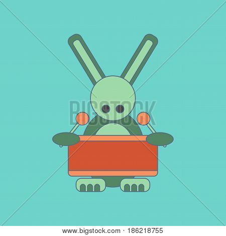 flat icon on stylish background Kids toy rabbit drummer