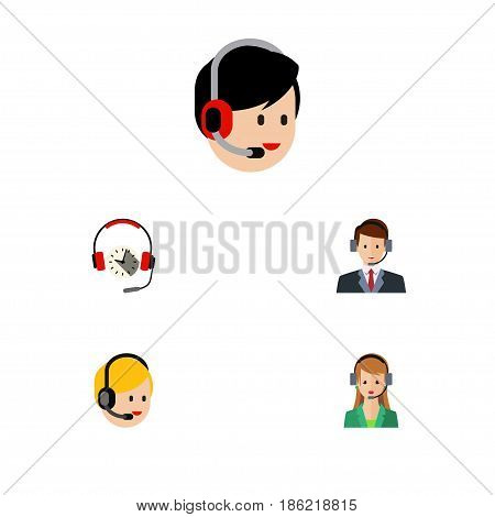 Flat Telemarketing Set Of Operator, Hotline, Headphone And Other Vector Objects. Also Includes Center, Secretary, Operator Elements.