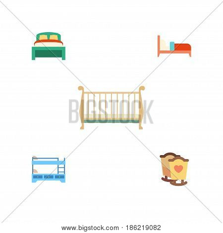 Flat Bedroom Set Of Bearings, Crib, Bunk Bed And Other Vector Objects. Also Includes Bearings, Mattress, Hostel Elements.