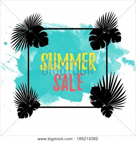 Summer sale Poster template with palm leaves Vector illustration Colorful inscription Summer sale in a black frame with different palm leaves on a white background with blue stain of watercolor