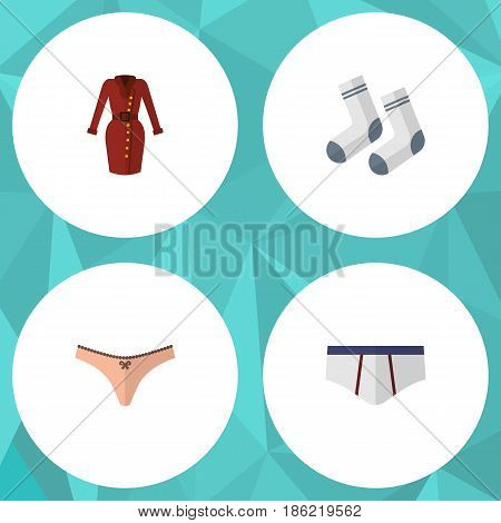 Flat Garment Set Of Foot Textile, Underclothes, Lingerie And Other Vector Objects. Also Includes Briefs, Lingerie, Foot Elements.