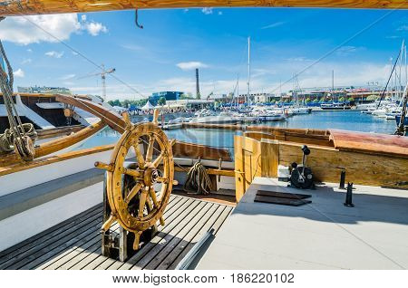 TALLINN ESTONIA - JULY 16: Yachts come to celebrate the Days of the Sea in Tallinn Estonia on July 16 2016.