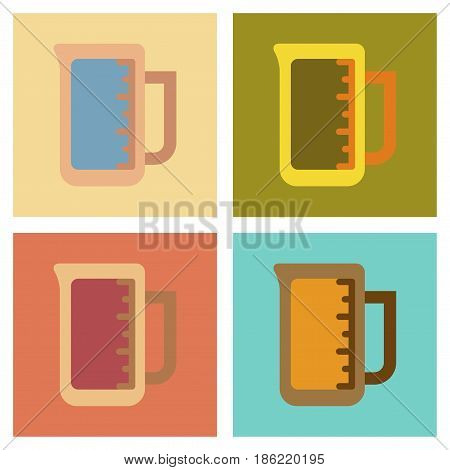 assembly of flat icons coffee measuring cup