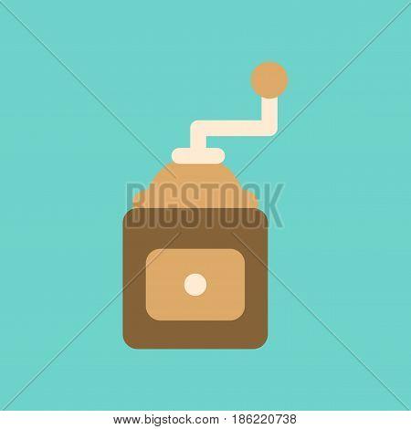 flat icon on stylish background coffee mill grinder