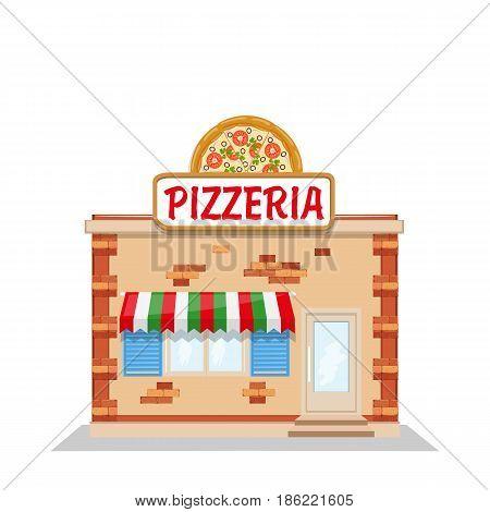 front facade Cartoon pizzeria. Vector flat illustration