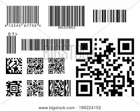 Bar code icon qr code symbol vector identification digital code