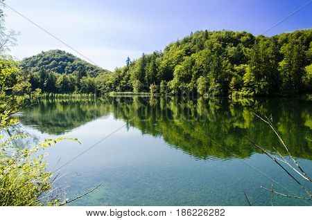 landscape of plitvice lake national park at sunset unesco heritage site plitvice croatia.