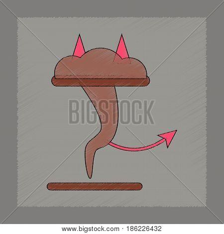flat shading style icon of tornado devil
