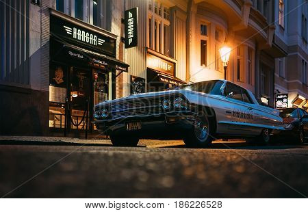 Prague, Czech Republic - May 7, 2017: An old renovated vintage 1960s Cadillac Coupe deVille car on the Prague street  in Prague, Czech Republic