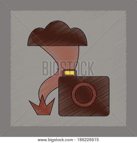 flat shading style icon of tornado camera