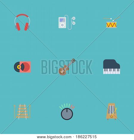 Flat Tambourine, Mp3 Player, Rhythm Motion And Other Vector Elements. Set Of Studio Flat Symbols Also Includes Knob, Vinyl, Headset Objects.
