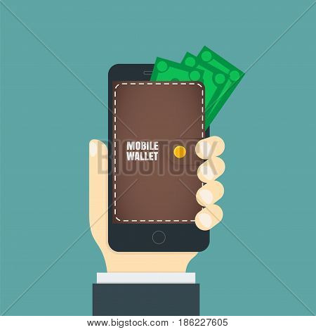 Mobile wallet in the smartphone. Wallet on the phone screen.