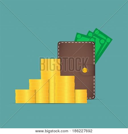 Brown wallet with money. Dollars stick out of the wallet. Near a pileof coins.