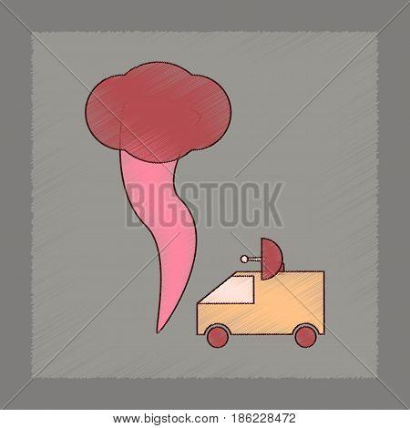 flat shading style icon of tornado car