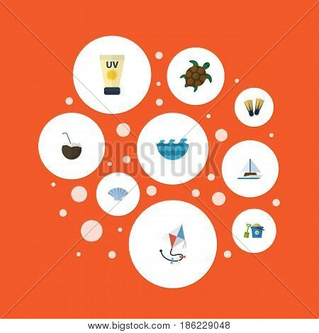 Flat Shovel, Sea, Fly And Other Vector Elements. Set Of Sunlight Flat Symbols Also Includes Shovel, Cream, Swimming Objects.